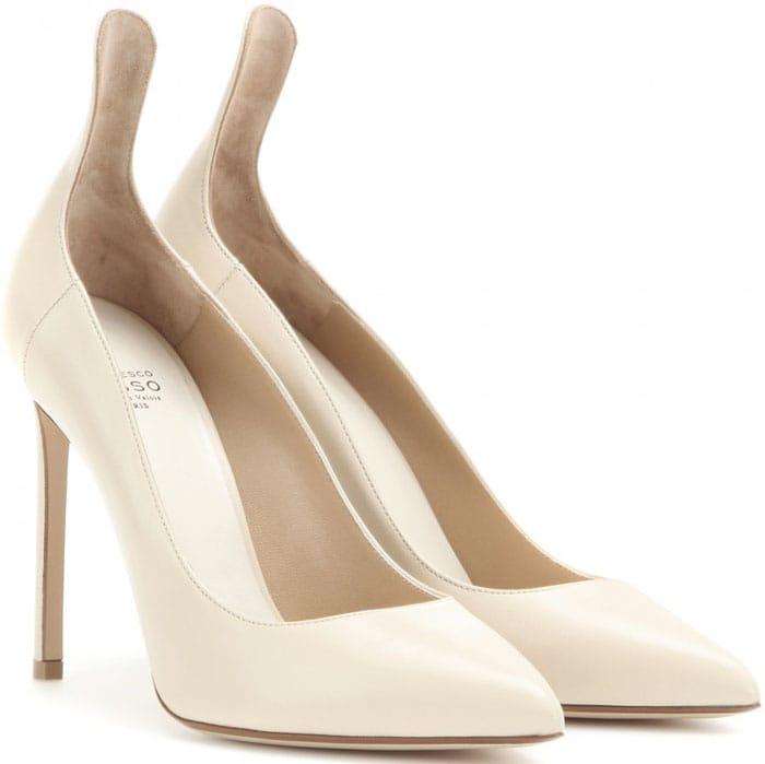 Francesco Russo Leather Stiletto Pumps White