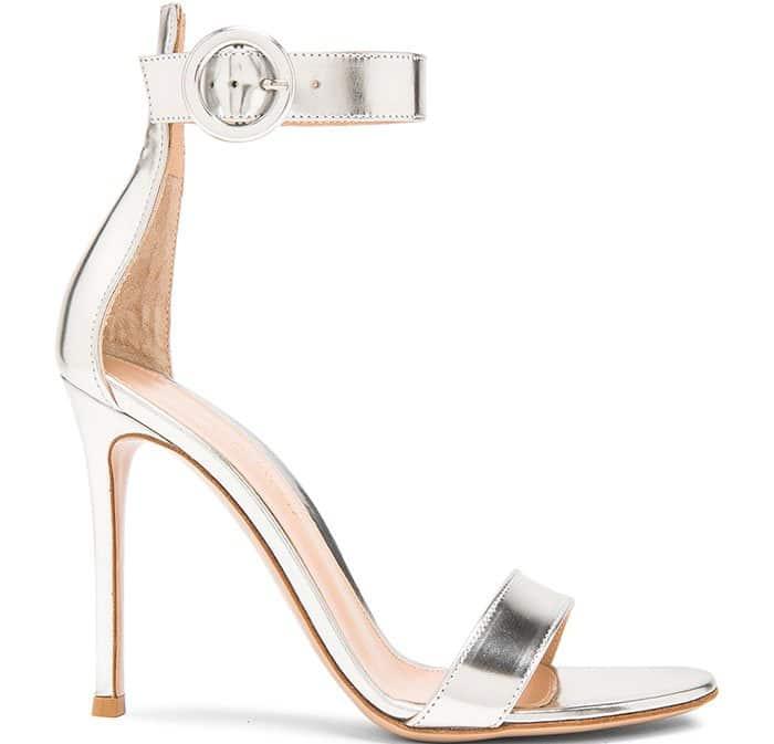 Gianvito Rossi Ankle-Strap Metallic Sandals