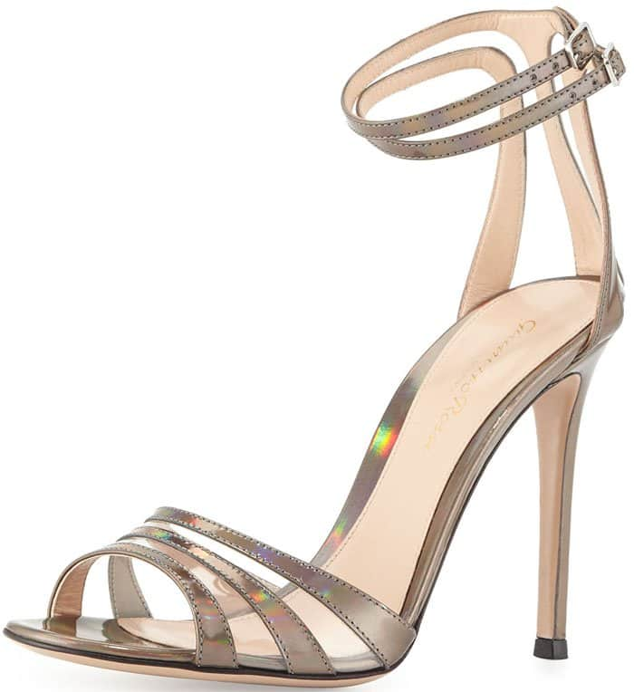 Gianvito Rossi Mirrored Ankle-Wrap Sandal in Silver