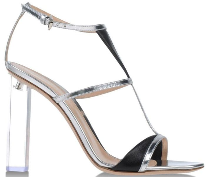 Gianvito Rossi Silver & Black Leather Sandal