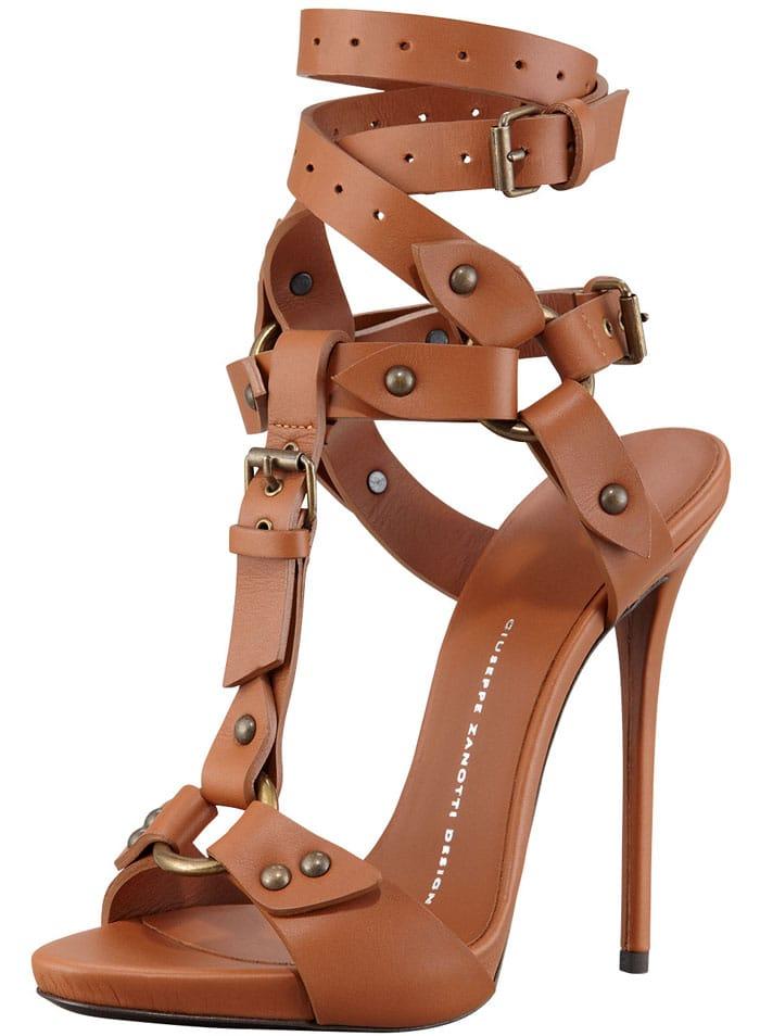 Giuseppe Zanotti Ankle Wrap Sandal Tan