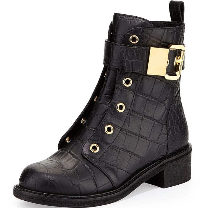Giuseppe Zanotti Croc-Embossed Leather Moto Boots