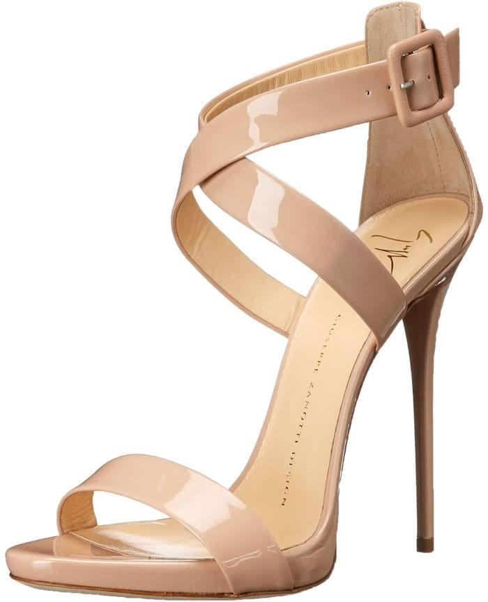 Giuseppe Zanotti Cross Strap Patent Sandals Nude