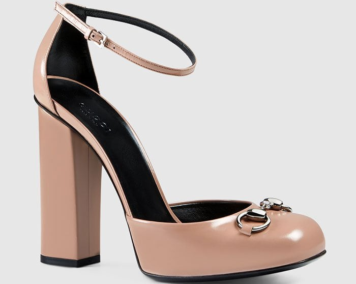Gucci Polished Leather Loafer Pumps Blush