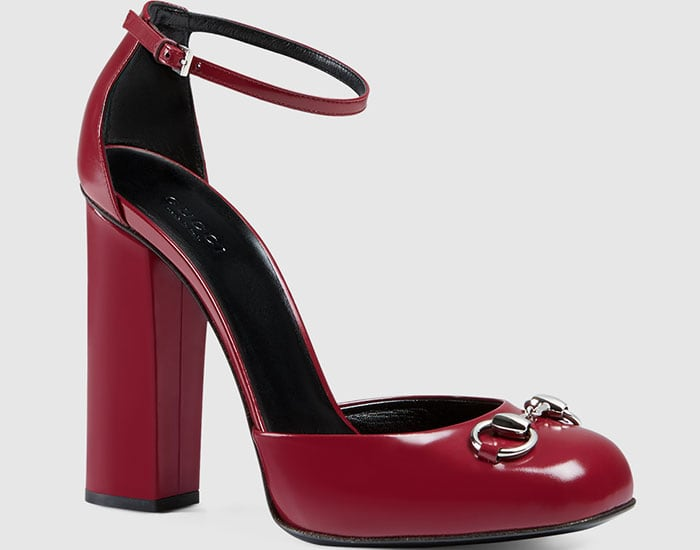 Gucci Polished Leather Loafer Pumps Bordeaux