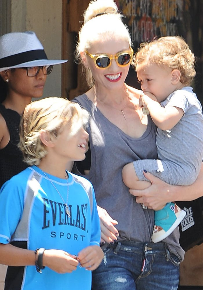 Gwen Stefani steps out to shop with her two sons, Kingston and Apollo