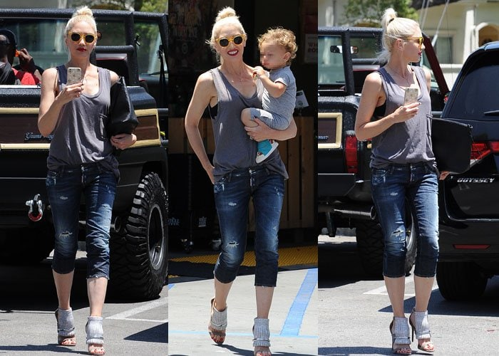 Gwen Stefani rocks a sleeveless top and ripped jeans for her outing with her kids