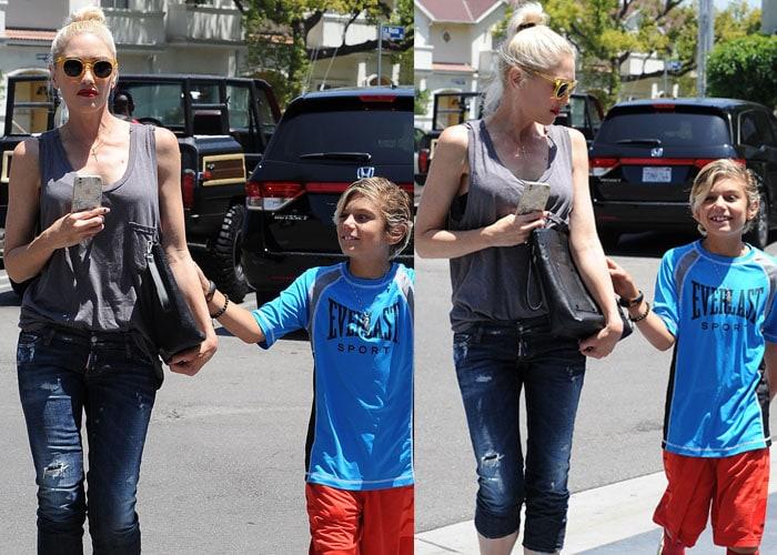 Gwen Stefani tends to her oldest son, Kingston James McGregor Rossdale
