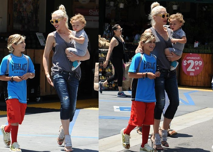 Gwen Stefani shops at Whole Foods with her kids in Burbank on July 28, 2015