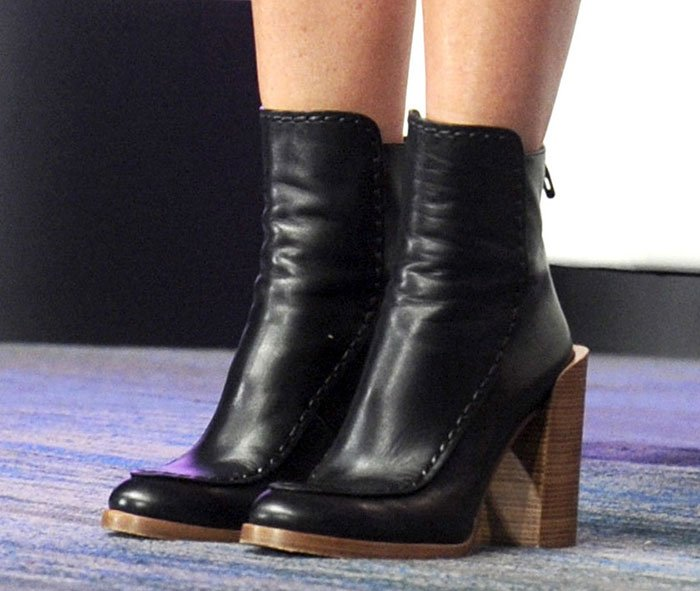 Gwyneth Paltrow's boots with stacked chunky heels