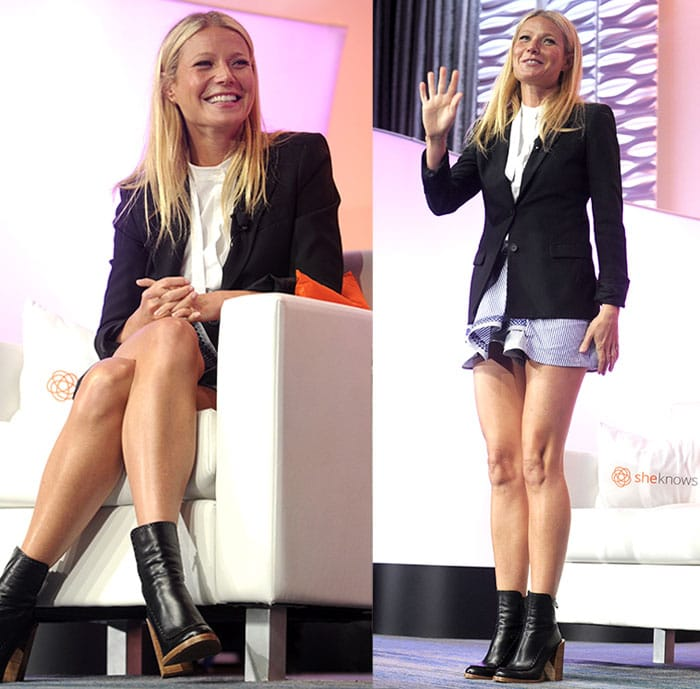 Gwyneth Paltrow flaunted her long legs in Thakoon shorts featuring nautical stripes