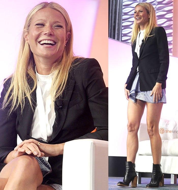 Gwyneth-Paltrow-white-top-black-blazer-striped-shorts