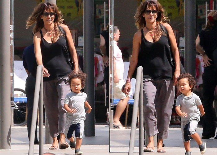 Halle Berry wore loose pants with a black tee