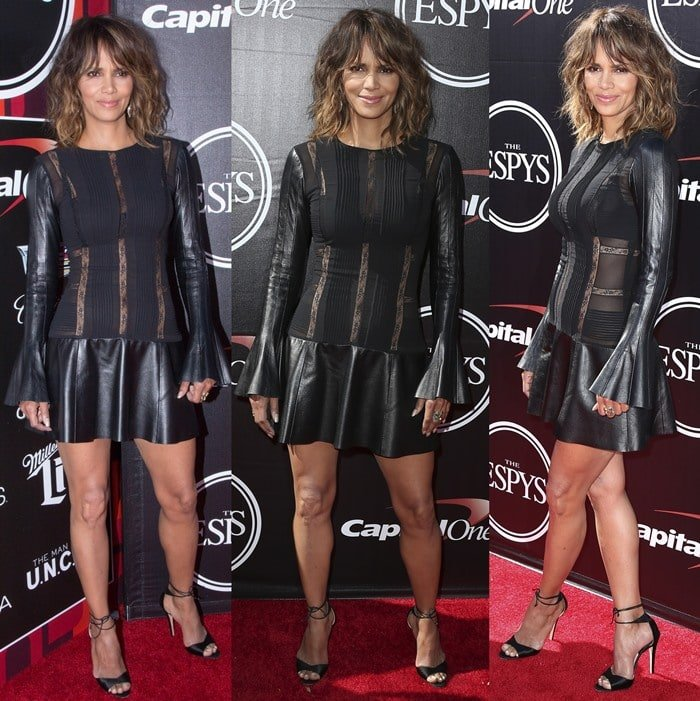 Halle Berryflaunts her legs in a leather-and-lace LBD by Teresa Helbig