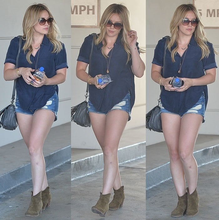 Hilary Duff spotted out on Santa Monica Boulevard in Beverly Hills in Los Angeles on July 2, 2015