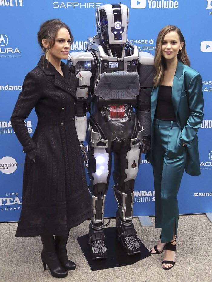"""Clara Rugaard and Hilary Swank attend the """"I Am Mother"""" Premiere during the 2019 Sundance Film Festival"""