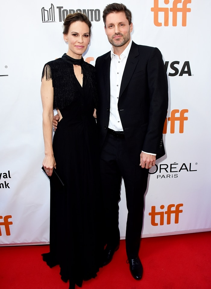 Hilary Swank and her husband Philip Schneider attend the 'What They Had' premiere during 2018 Toronto International Film Festival