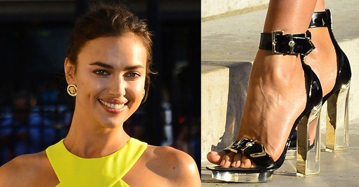 794adc4ca6a Irina Shayk Turns Heads in Yellow Leg-Baring Versace Frock and Plexi-Heel  Sandals