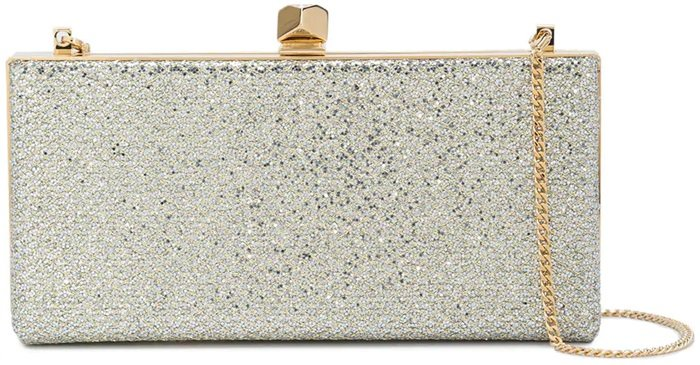 Sporting a slick Jimmy Choo gold-tone metal cube clasp closure with a crystal detail in the center, an internal logo patch, shiny gold-tone hardware with a side embossed logo stamp, this chic Celeste clutch can be carried in the hand or worn over the shoulder courtesy of its elegant gold-tone chain strap