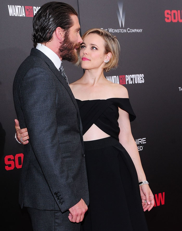 "Jake Gyllenhaal and Rachel McAdams attend the premiere of ""Southpaw"" held at AMC Loews Lincoln Square in New York City on July 20, 2015"