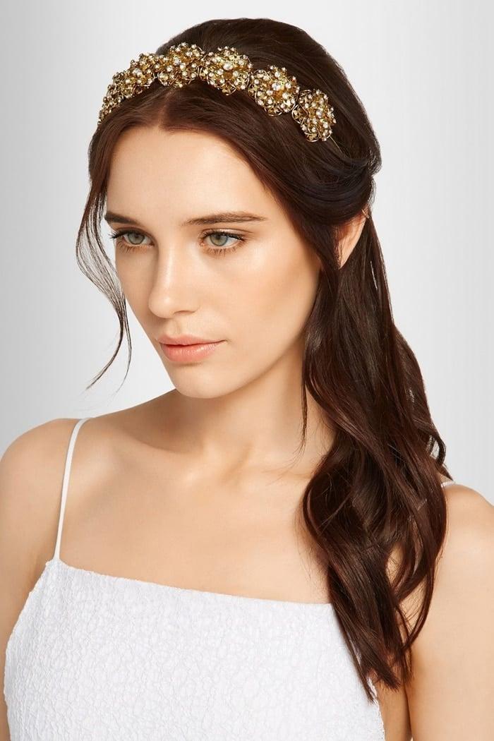 Jennifer Behr Contessa Swarovski Crystal-Embellished Gold-Plated Headband
