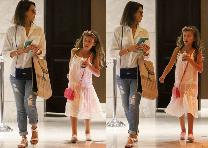 Jessica Alba takes a stroll with her daughters, Honor and Haven Warren