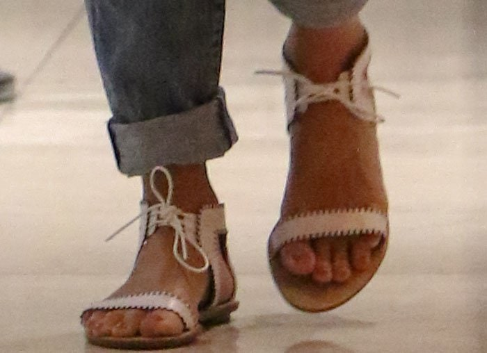 Jessica Alba shows off her subtle nude pedicure in a pair of Loeffler Randall sandals
