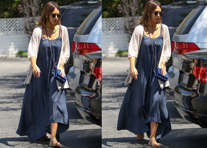 Jessica Alba wearing a maxi dress by Pink Stitch and a cardigan by Inhabit