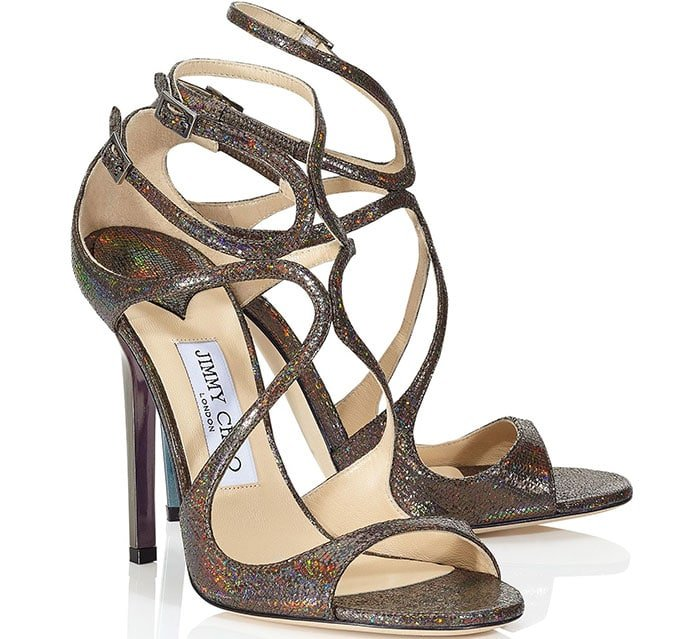 Jimmy-Choo Anthracite Holographic Printed Leather Strappy Sandals