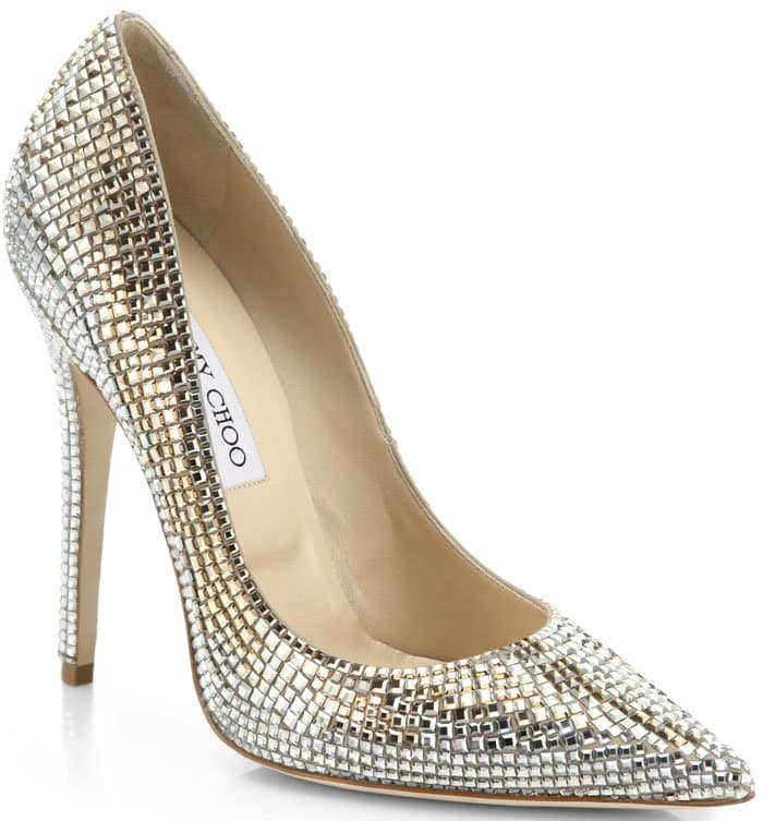 """Jimmy Choo """"Tartini"""" Square Pavé Crystal & Suede Pumps in Champagne"""