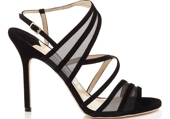 Jimmy Choo Black Suede Visby Sandals