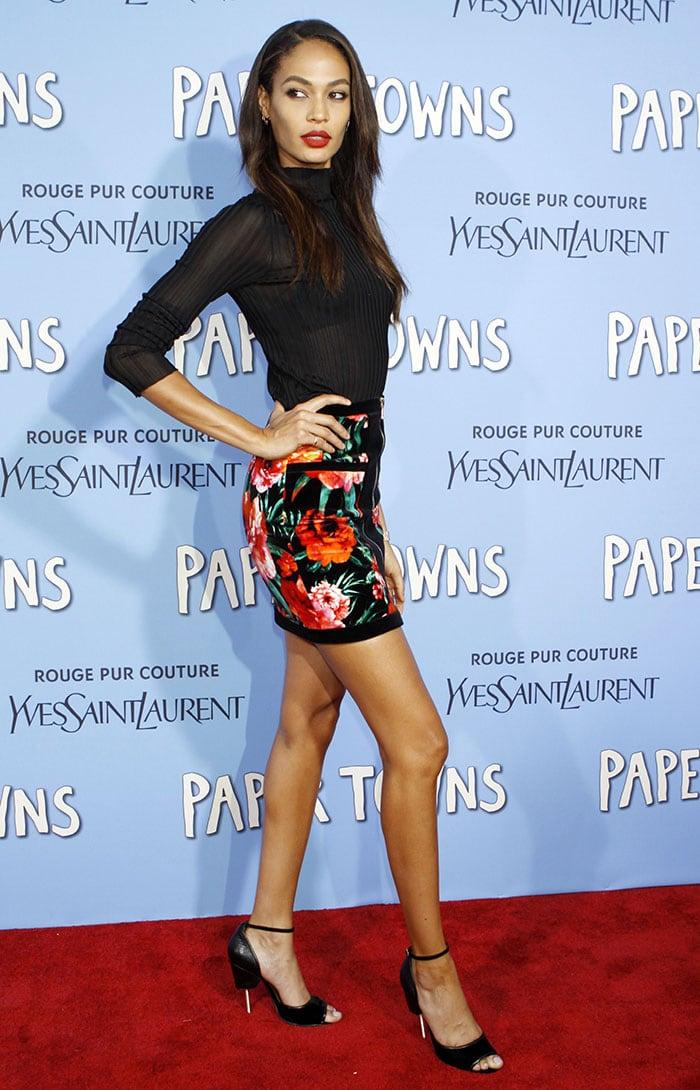 Joan-Smalls-Balmain-sheer-top-floral-mini-skirt