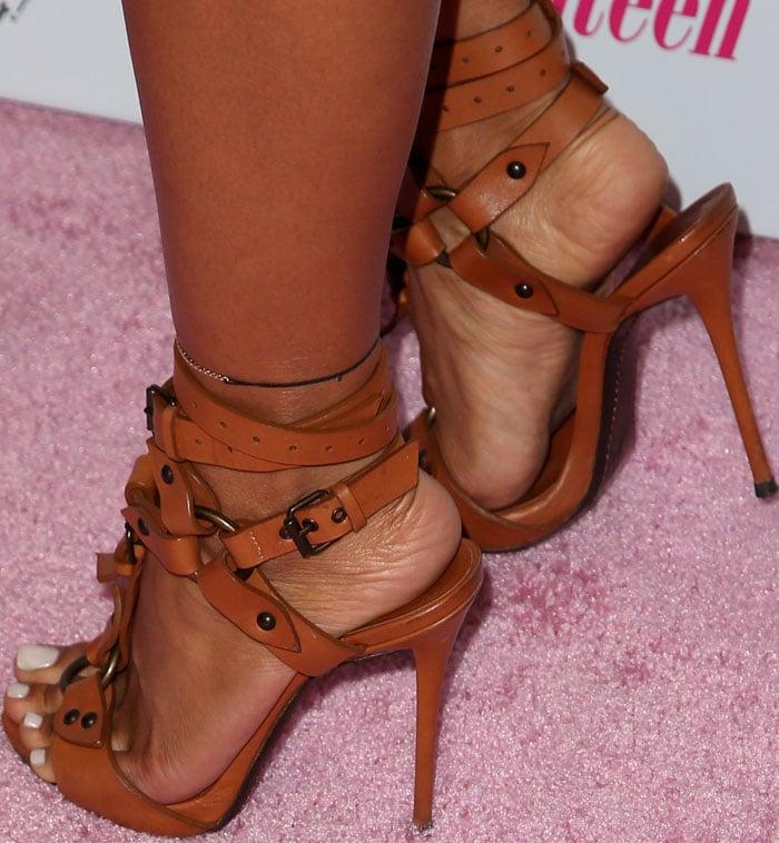 Karrueche Tran's sexy feet in Giuseppe Zanotti sandals