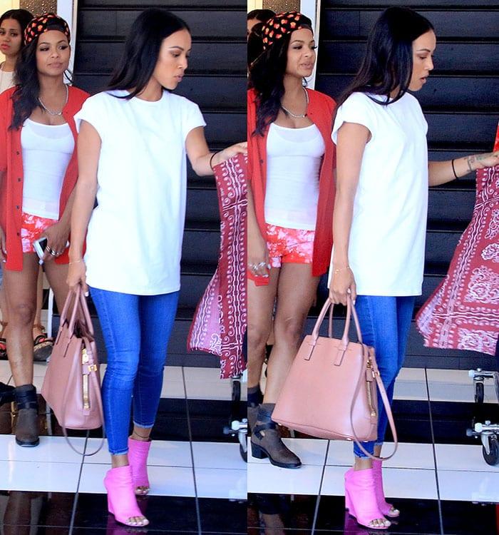 Karrueche-Tran-white-tee-skinny-jeans-pink-mules