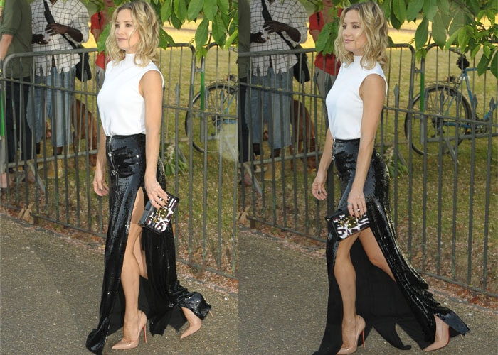 Kate Hudson stuns in a white top paired with a floor-length black sequined skirt