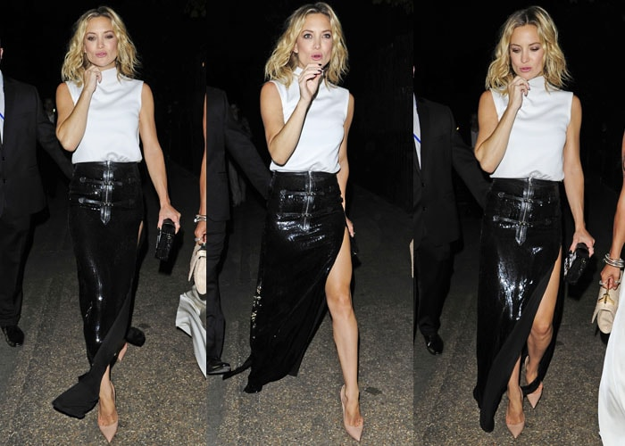 Kate Hudson was completely glam in an anything-but-simple black-and-white look finished off with neutral pumps