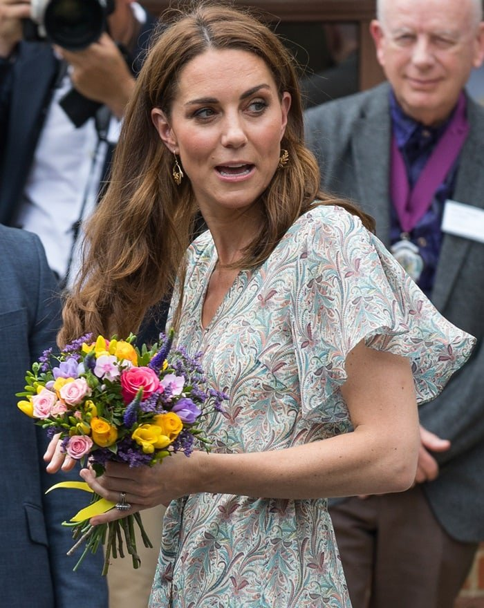 Kate Middleton wore a ruffled midi Ridley London dress for a photography workshop