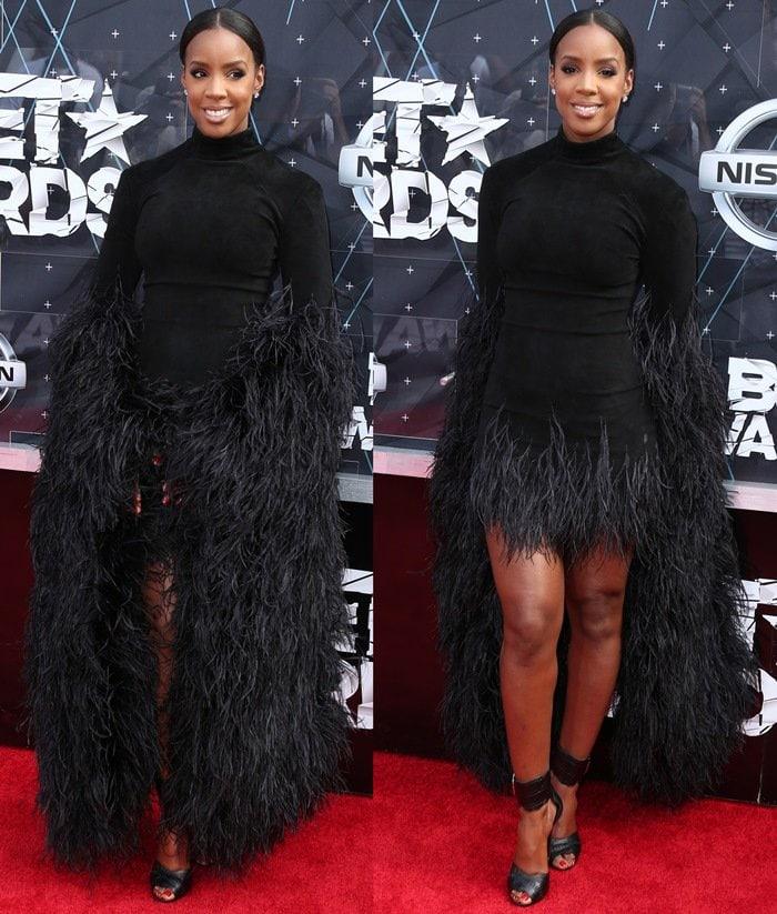 Kelly Rowland flaunts her legs in a monstrous dress