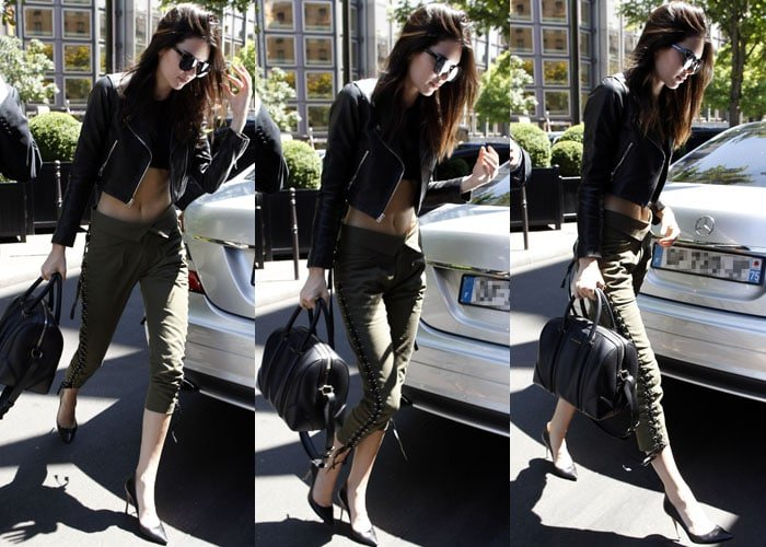 Kendall Jenner wore a leather jacket from Laer, Ronny Kobo pants, Dior sunglasses, and a pair of Gianvito Rossi Ellipsis pumps