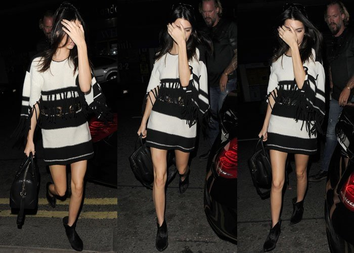 Kendall Jenner in a striped fringed dress from the Alice McCall Spring 2015 collection
