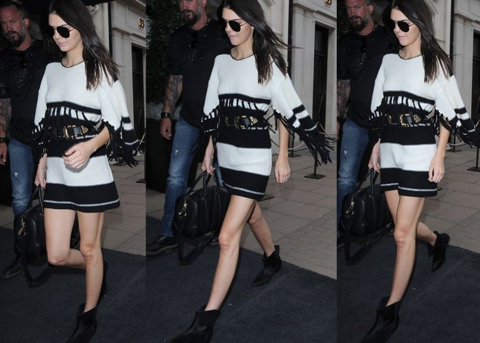 Kendall Jenner visiting Sotheby's auction house on Bond Street before stopping off to see Lewis Hamilton