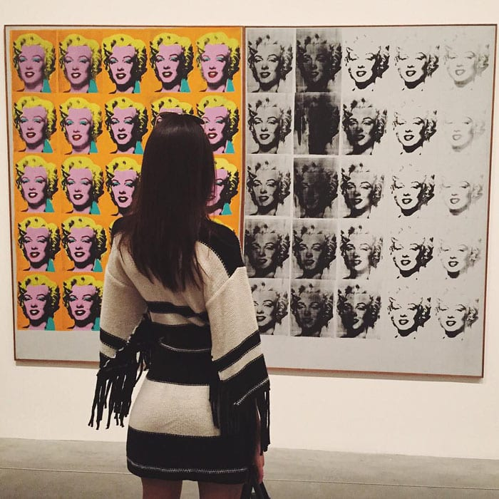 Kendall Jenner showing off her interest in Andy Warhol's works