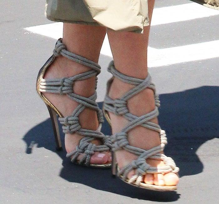 Kim Kardashian in Jimmy Choo 'Kalmar' rope sandals