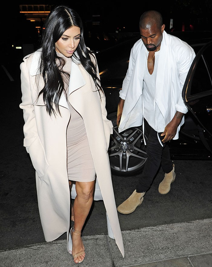 43ea05daef823 Kim Kardashian in Transparent Sandals on Date with Kanye West