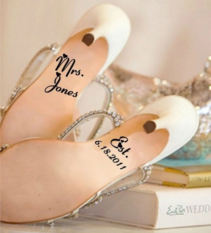 Kreative Decals Last Name and Wedding Date Shoe Stickers