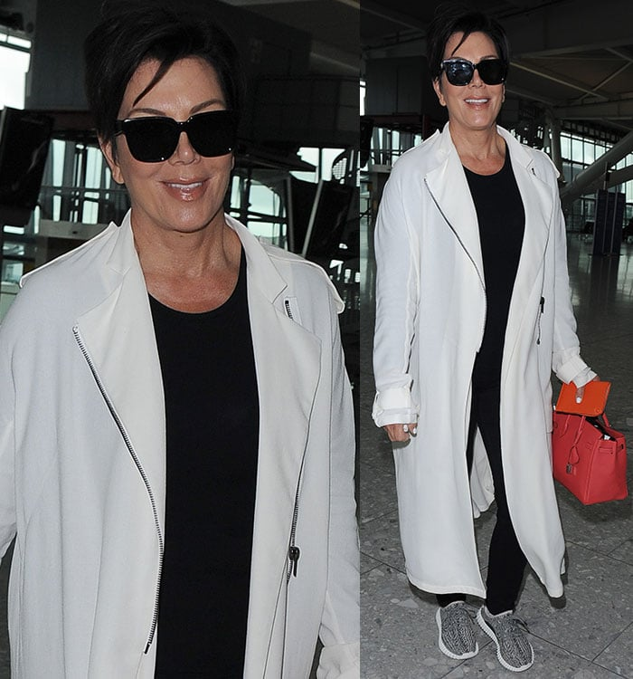 Kris Jenner was all smiles as she casually strolled through the airport, rocking her signature black look with her dark pixie cut