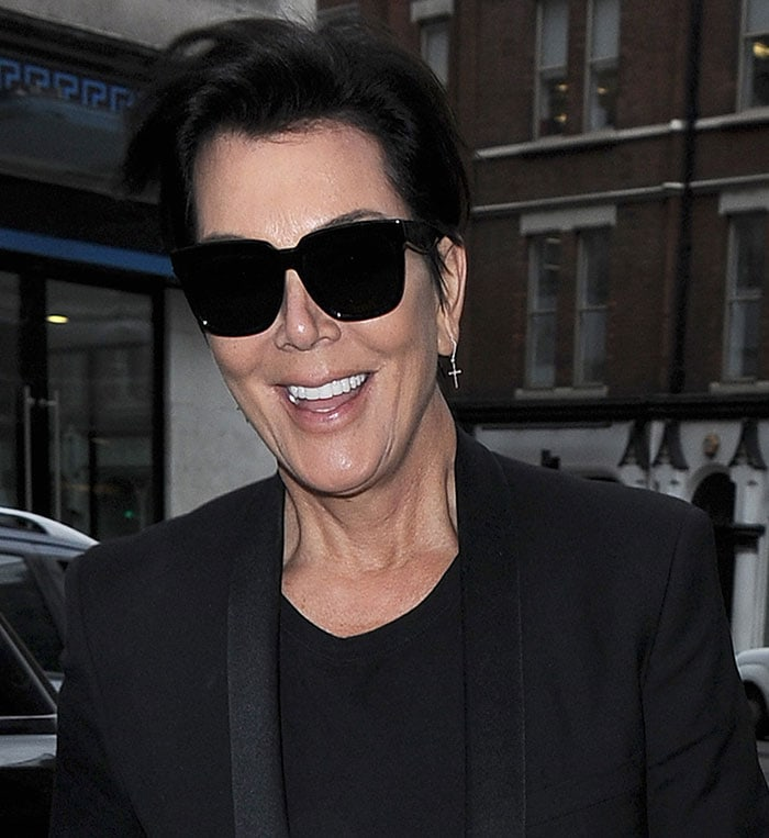 Kris Jenner leaves a studio in North London, England, on July 13, 2015, wearing an all-black look