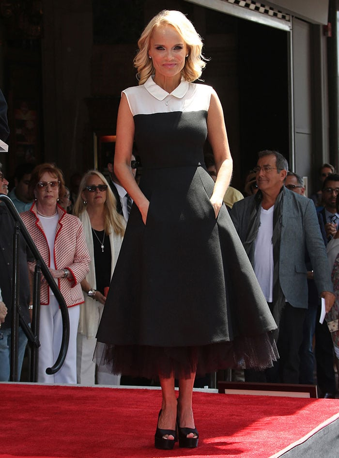 Kristin Chenoweth in a black-and-white Kate Spade dress at the unveiling of her star on the Hollywood Walk of Fame in Hollywood on July 24, 2015