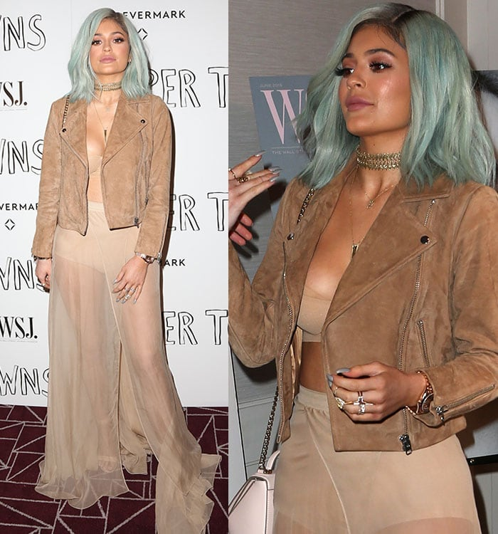 """Kylie Jenner flashing cleavage and underwear in a bralette and a sheer skirt at the special screening of """"Paper Towns"""""""