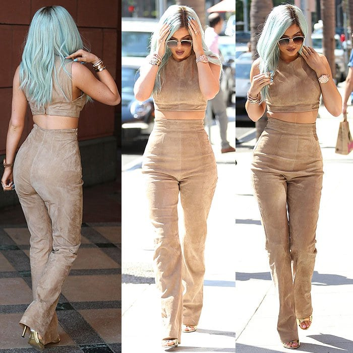 Kylie Jenner can't stop touching her hair while out to get a treat at Go Greek Yogurt in Beverly Hills, California